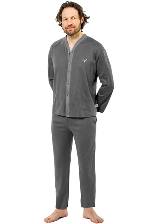 Pijama Barbati Cu Nasturi, Model The Archer Gray, Bumbac Natural, Contro Senso
