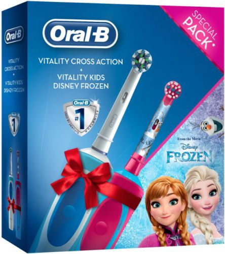 Periuta electrica Oral B Cross Action + Vitality Kids Frozen (Alb/Roz)
