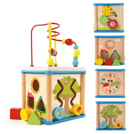 Cub lemn multifunctional,5in 1, jucarie Montessori,Sarra,multicolor