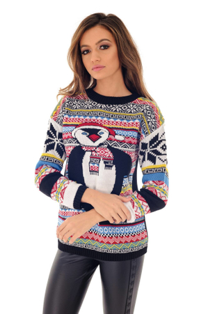 Pulover de dama, multicolor, ROH, cu pinguin dragut, M-L