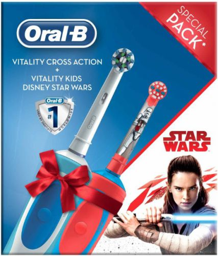 Periuta electrica Oral B Cross Action + Vitality Kids Star Wars (Alb/Rosu)