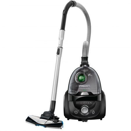 Aspirator fara sac Philips PowerPro Active FC8645/91, 1.7 l, Tub telescopic metalic, 750W, EPA 10, Negru