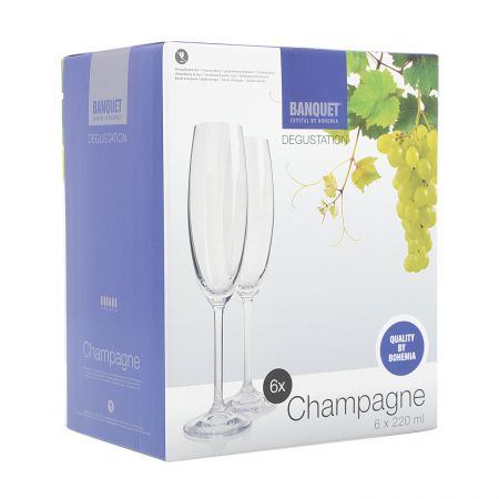 Set 6 pahare sampanie Bohemia Degustation, 220 ml