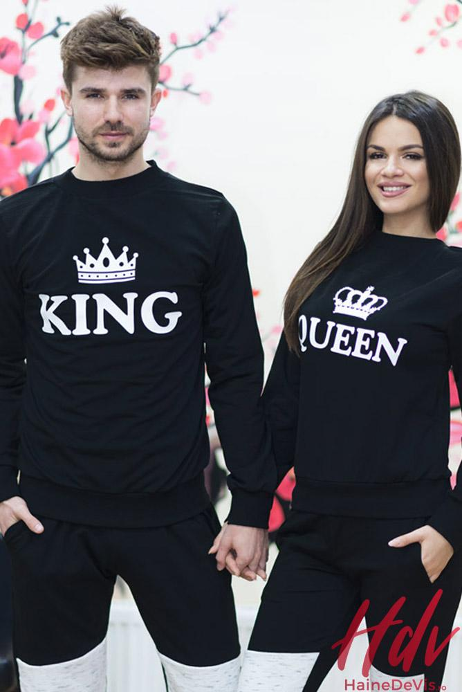 Haine cupluri: set trening Queen King , Mr si Mrs, tricouri haioase, hanorace sau pulovere